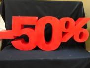 """Надпись из пенопласта """"-50%"""", h50см, w10см"""