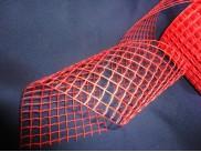 Лента Рогожка(красная) ширина10см  (1м)