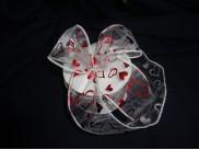 Лента органза с проволокой, белая с сердцами  6см (1м)