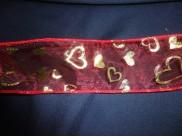 Лента органза с проволокой/ красная-золотые сердца 6см (1м)