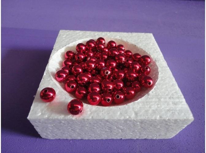 Бусинки 8мм/ металлизированные красные  (20гр)
