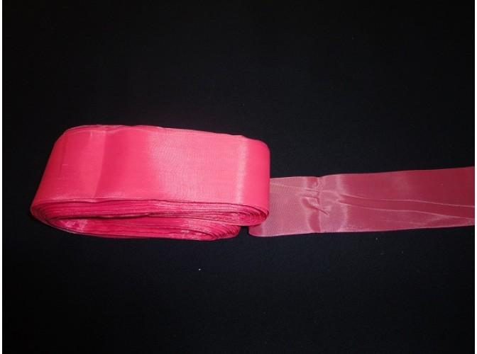 Лента шелковая (розовая) 5см  (1м)