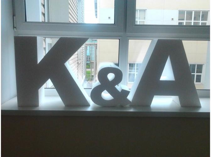 """Буквы из пенопласта """"K&A"""" 50х54х20см (1 комплект)"""