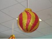 """Новогодний шар с декором """"Полоска"""" Ø50 см / блеск (1шт)"""