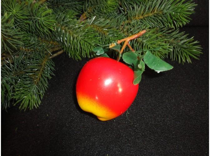 """Муляж """"Яблоко"""" на ветке/крупное красно-желтое (1шт)"""