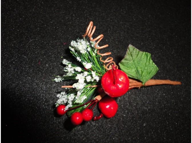Букетик новогодний красные яблочки 14см (1шт)