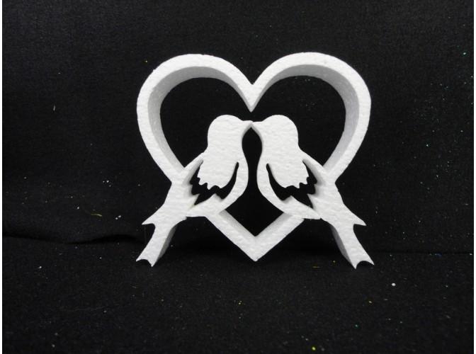 """Заготовка из пенопласта """"Влюбленные голубки""""сердце-контур h15см; w2см (1шт)"""