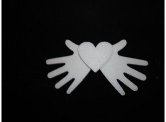 """Заготовка для творчества """"Добрые руки""""/сердце - рельеф h12см; w3см (1шт)"""
