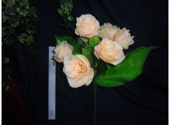 Букет роз с широким листом персиковый h45cм, 7 голов (1шт)
