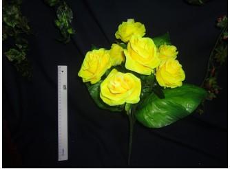 Букет роз с широким листом желтый h45cм, 7 голов (1шт)