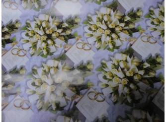 """Бумага подарочная №35 """"Чайные розы""""  (70х100см) 5листов"""
