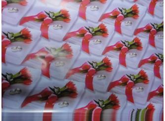 """Бумага подарочная №36 """"Красные тюльпаны"""" (70х100см) 5листов"""