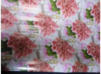 """Бумага подарочная №329 """"Розовые розы""""  (70х100см) 5листов"""