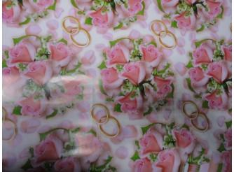 """Бумага подарочная №117 """"Розовый букет""""  (70х100см) 5листов"""