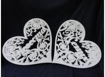 """Заготовка для творчества """"Два сердца: Жених и Невеста"""" h50см;w3см  (комплект)"""