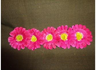"Цветочная головка ""Гербера т.розовая"" /ткань/ Ø12см (5шт)"