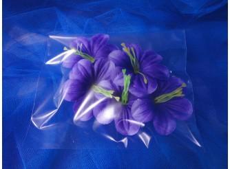 """Цветочная головка  """"Клематис бело - фиолетовый""""/ткань/ Ø 9 см (5шт)"""