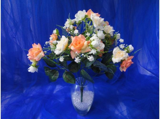 """Букет """"Розы мелкие"""" бел/оранж / h 35/ 10 веток (1шт)"""