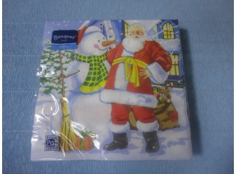 "Салфетки для декупажа 33*33 ""Дед Мороз и Снеговик 2"" (20листов)"