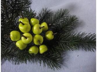 """Декор """"Яблочки - малютки"""" на проволоке/ зеленые 2см (набор 12шт)"""
