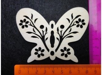 """Заготовка для творчества """"Бабочка с цветочками"""" h7см/ фанера (набор 10шт)"""