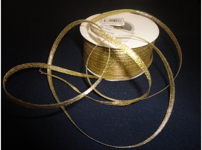 Лента атласная метал. 0,3см*100м (золото)