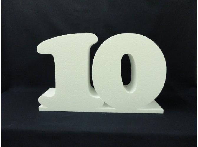 """Цифра из пенопласта """"10"""" на подставке  h20см; w5см (1шт)"""