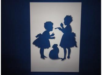 """Постер из пенопласта """"Две подружки и кошка""""/сквозной (1шт)"""