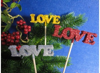 """Топпер/фанера """"Love""""/блеск2*7*20 (набор 3шт)"""