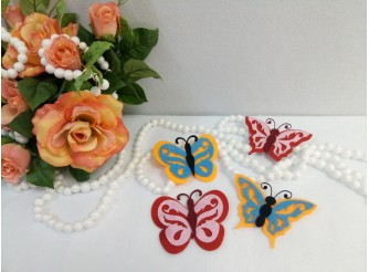 """Украшение д/декора """"Бабочки двойные""""/ фетр  (набор 4шт)"""