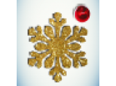 Снежинка золото/бусинка красная