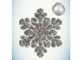 Снежинка серебро/бусинка белая