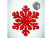 Снежинка красная/бусинка серебро