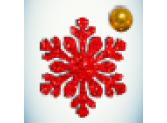 Снежинка красная/бусинка золото