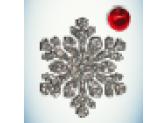 Снежинка серебро/бусинка красная