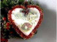 """Украшение/сердце """"Рождественская сказка""""/пенопласт/принт ( 1шт)"""