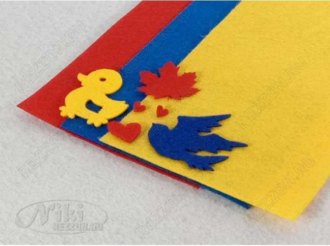 """Твердый фетр 1мм """"Красный, синий, желтый"""" 15*30см (набор 3 шт)"""
