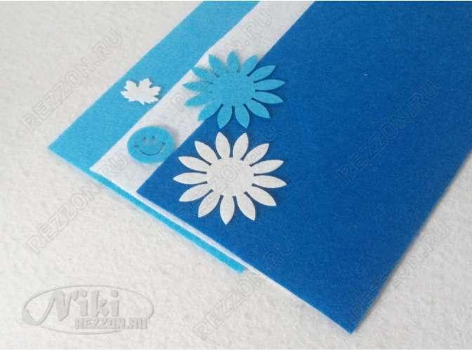 "Твердый фетр 1мм ""Синий, белый, голубой"" 15*30см (набор 3 шт)"