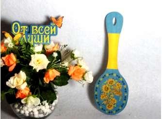 """Сувенирная ложка """"Цветы"""""""" 25*8 см/фанера/принт (1шт)"""