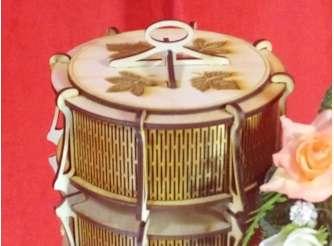 """Шкатулка круглая """"Кленовые листья""""13,5*7,8 см/ фанера (1шт)"""