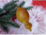 """Новогодняя игрушка """"Лимон с каплей"""" 10*6см/блеск  (1шт)"""