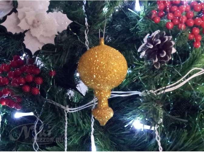 """Новогодняя игрушка """"Луковица  на пике"""" 12*6см/блеск  (1шт)"""