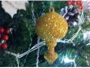 """Новогодняя игрушка """"Лук  на пике"""" 20*13см/блеск  (1шт)"""