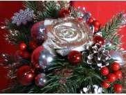 """Новогодняя композиция """"Зимняя роза"""" h35 см (1шт)"""