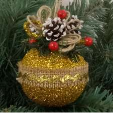 """Новогодний шар с декором """"Роскошь простоты"""" Ø8 см (1шт)"""