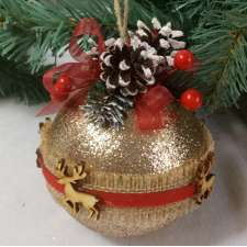 "Новогодний шар с декором ""Красная дорожка"" Ø12 см (1шт)"