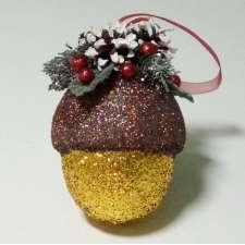 """Новогоднее украшение """"Желудь с декором"""" h12см (1шт)"""