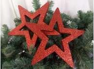 """Новогоднее украшение """"Две блестящие контурные звезды"""" d30 см (набор 2шт)"""