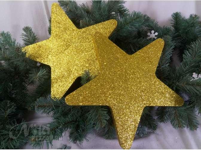 """Новогоднее украшение """"Две блестящие сплошные звезды"""" d30 см (набор 2шт)"""