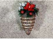 """Новогоднее украшение """"Шишка с декором"""" h10 см (1шт)"""